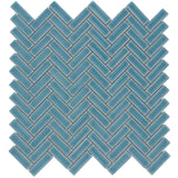 MTO0254 Modern Herringbone Blue Turquoise Glazed Handcrafted Ceramic Mosaic Tile - Mosaic Tile Outlet