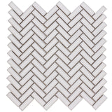 MTO0255 Modern Herringbone Chevron White Glazed Handcrafted Ceramic Mosaic Tile - Mosaic Tile Outlet