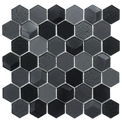 MTO0256 Modern Faceted Hexagon Black Glossy Glass Mosaic Tile - Mosaic Tile Outlet