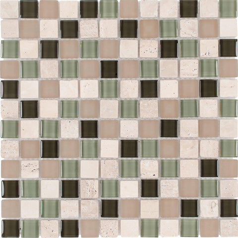 MTO0264 1X1 Squares Beige Green White Earth tones Glossy Glass Travertine Mosaic Tile - Mosaic Tile Outlet