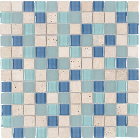 Front Contemporary Uniform Squares Blue White Glass Stone Mosaic Tile