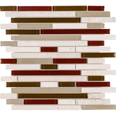 MTO0266 Classic Linear Beige Red White Metallic Glossy Glass Stone Mosaic Tile - Mosaic Tile Outlet
