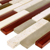 Close Up Classic Linear Beige Red White Glass Stone Mosaic Tile