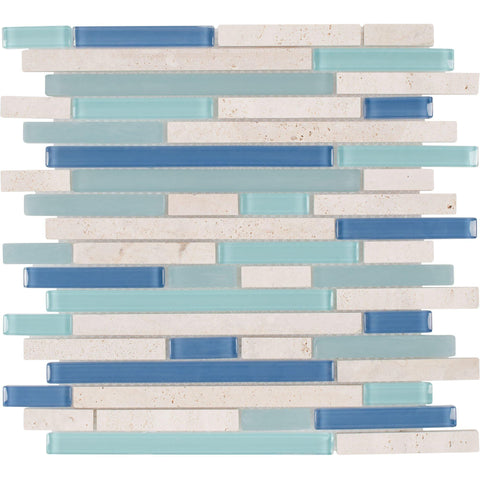MTO0267 Classic Linear Blue White Turquoise Glossy Glass Stone Mosaic Tile - Mosaic Tile Outlet