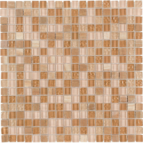 MTO0269 Modern Squares Brown Orange Yellow Glossy Glass Stone Mosaic Tile - Mosaic Tile Outlet