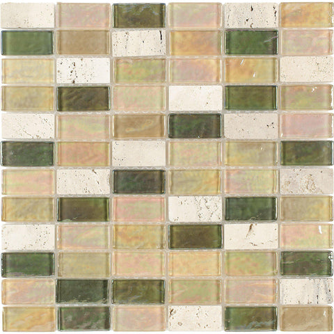 MTO0272 Rectangles Beige Green Orange Frosted Glass Stone Mosaic Tile - Mosaic Tile Outlet