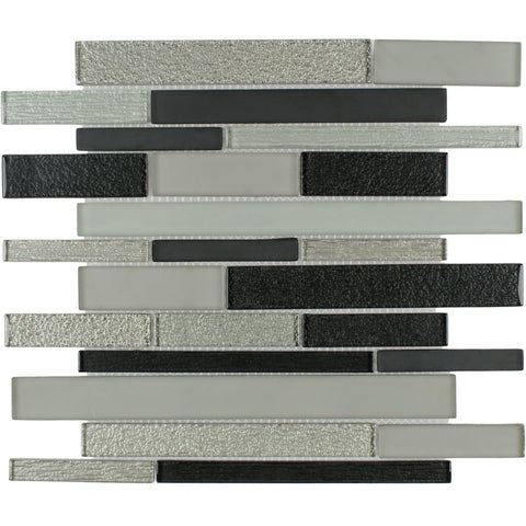 Front Modern Linear Black Grey Glass Mosaic Tile