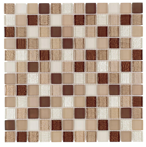 Front Contemporary Uniform Squares Brown White Glass Mosaic Tile