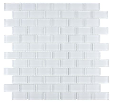 MTO0277 Modern Linear Brick Pure White Glossy Glass Mosaic Tile - Mosaic Tile Outlet