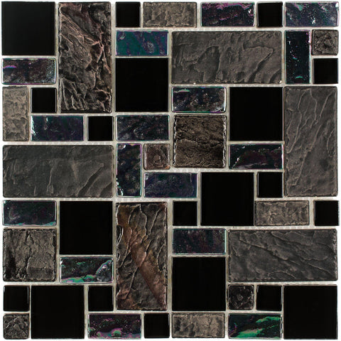 Front Contemporary Assorted Rectangles Black Grey Purple Glass Porcelain Mosaic Tile
