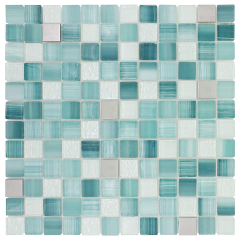 MTO0282 Hand Painted 1X1 Squares Blue Gray White Glossy Glass Metal Mosaic Tile - Mosaic Tile Outlet