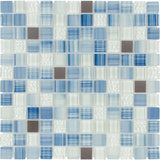 MTO0283 Hand Painted 1X1 Squares Blue Gray White Glossy Glass Metal Mosaic Tile - Mosaic Tile Outlet