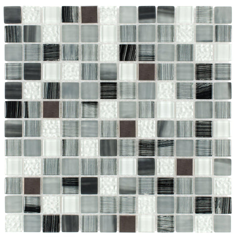MTO0284 Hand Painted 1X1 Squares Black Gray White Glossy Glass Metal Mosaic Tile - Mosaic Tile Outlet