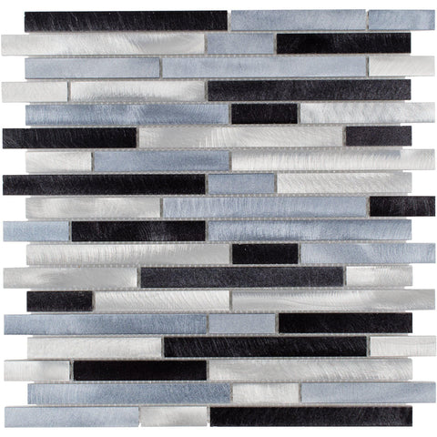 Front Modern Linear Black Blue Grey Metal Mosaic Tile