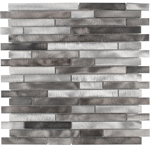 Front Modern Linear Grey Metal Mosaic Tile