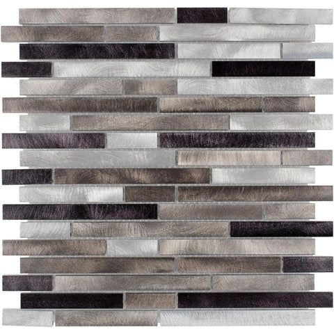 Front Modern Linear Black Grey Metal Mosaic Tile