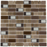 Front Modern Assorted Rectangles Brown Grey Glass Metal Mosaic Tile
