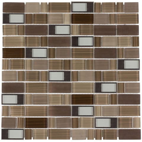 MTO0288 Modern Rectangles Brown Gray Glossy Glass Metal Mosaic Tile - Mosaic Tile Outlet