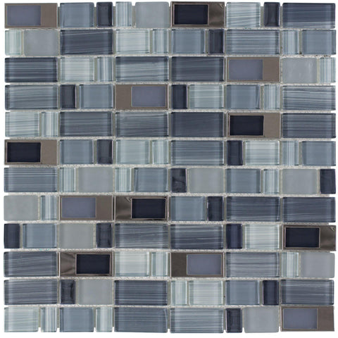 Front Modern Assorted Rectangles Blue Grey Glass Metal Mosaic Tile