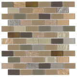 MTO0290 Linear Brick Brown Gray Multi-finish Glass Metal Mosaic Tile - Mosaic Tile Outlet