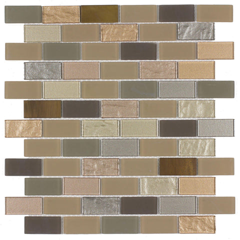 Front Contemporary Brick Brown Grey Glass Metal Mosaic Tile