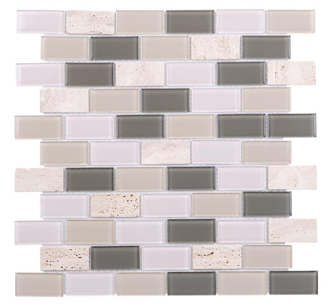 MTO0291 Brick Beige Gray White Metallic Glossy Glass Travertine Mosaic Tile - Mosaic Tile Outlet