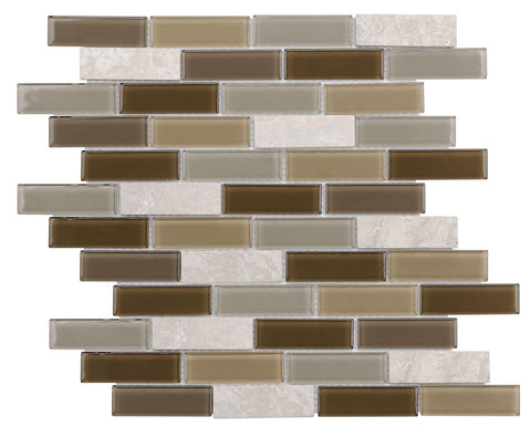 Front Modern Linear Brown Grey Glass Stone Mosaic Tile