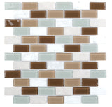 MTO0293 Modern Brick Brown Gray White Metallic Glossy Glass Stone Mosaic Tile - Mosaic Tile Outlet