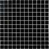 Front Classic Uniform Squares Black Glass Mosaic Tile