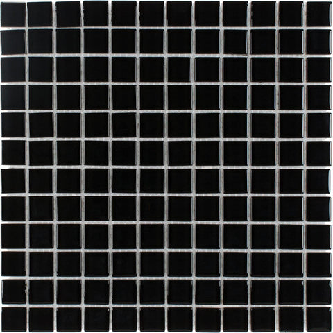 MTO0294 Classic 1X1 Stacked Squares Black Glossy Glass Mosaic Tile - Mosaic Tile Outlet