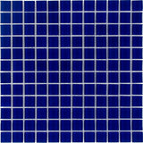 Front Classic Uniform Squares Blue Glass Mosaic Tile