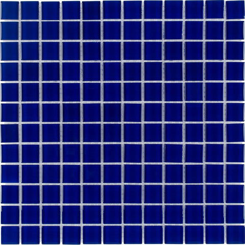 MTO0295 Classic 1X1 Stacked Squares Cobalt Blue Glossy Glass Mosaic Tile - Mosaic Tile Outlet