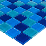 MTO0296 Classic 1X1 Stacked Squares Blue Glossy Glass Mosaic Tile - Mosaic Tile Outlet