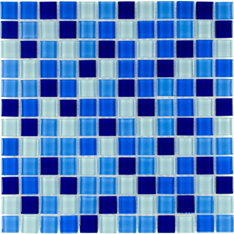 MTO0297 Classic 1X1 Stacked Squares Blue White Glossy Glass Mosaic Tile - Mosaic Tile Outlet