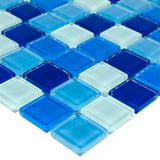 Close Up Classic Uniform Squares Blue White Glass Mosaic Tile