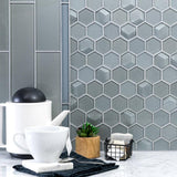 Kitchen Backsplash Close Up Classic Brick Grey Glass Mosaic Tile