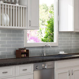 Kitchen Backsplash Angle Classic Brick Grey Glass Mosaic Tile