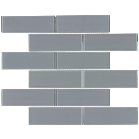 MTO0298 Classic 2X6 Subway Gray Glossy Glass Mosaic Tile - Mosaic Tile Outlet