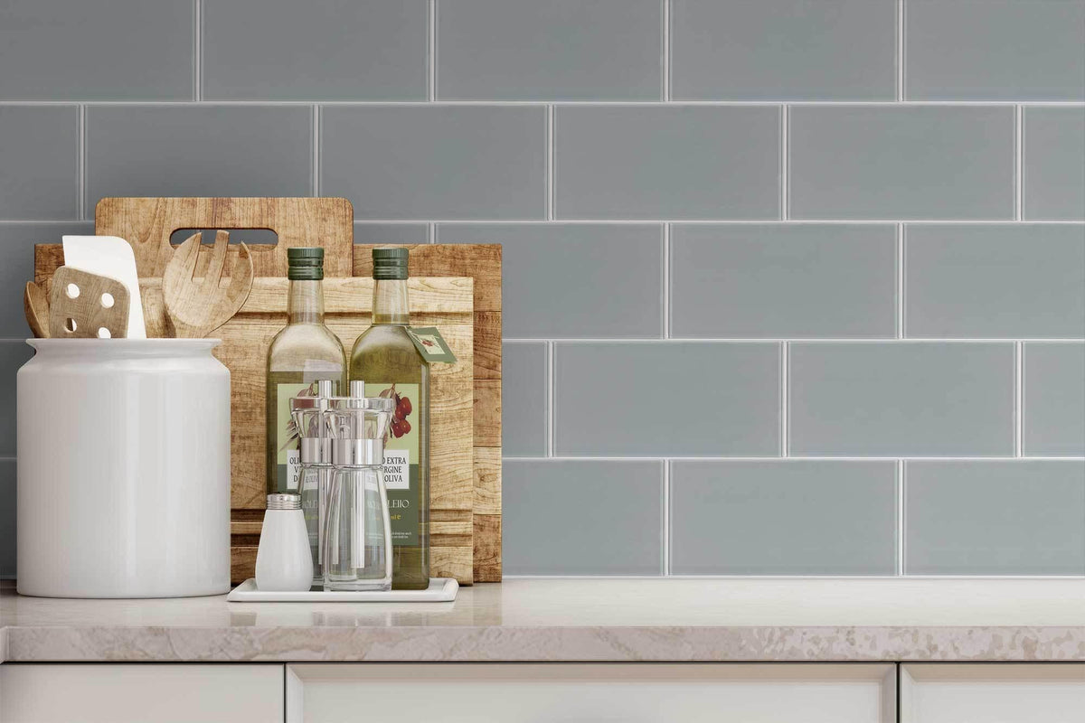 Grey Subway Tile Backsplash >> MTO0299 Classic 4X8 Subway Brick Gray Glossy Glass Tile