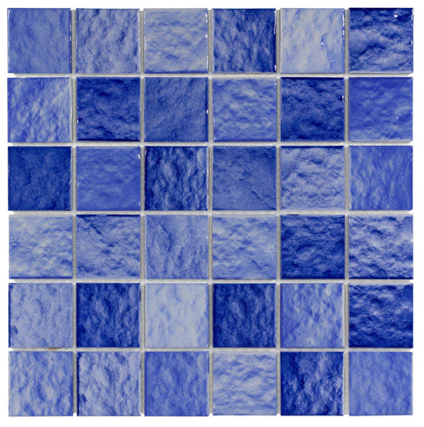 MTO0301 Classic 2X2 Squares Blue Glossy Ceramic Mosaic Tile - Mosaic Tile Outlet
