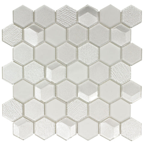 MTO0302 Modern Beveled Hexagon Beige White Glossy Metallic Glass Mosaic Tile - Mosaic Tile Outlet