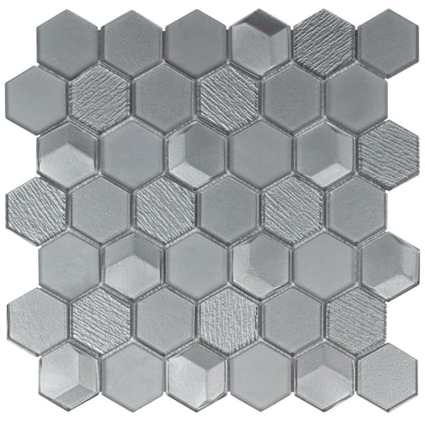 MTO0303 Modern Beveled Hexagon Gray Glossy Metallic Glass Mosaic Tile - Mosaic Tile Outlet