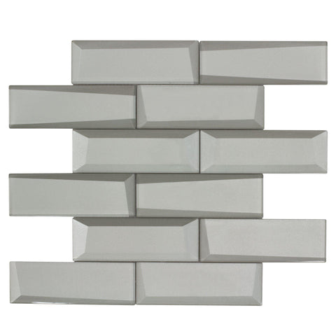 MTO0304 Modern 2X6 Beveled Subway Gray Glossy Metallic Glass Mosaic Tile - Mosaic Tile Outlet