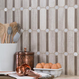Feature Wall Backsplash Angle Modern Ocatagonal Grey White Stone Mosaic Tile