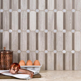 Feature Wall Backsplash Side Modern Ocatagonal Grey White Stone Mosaic Tile