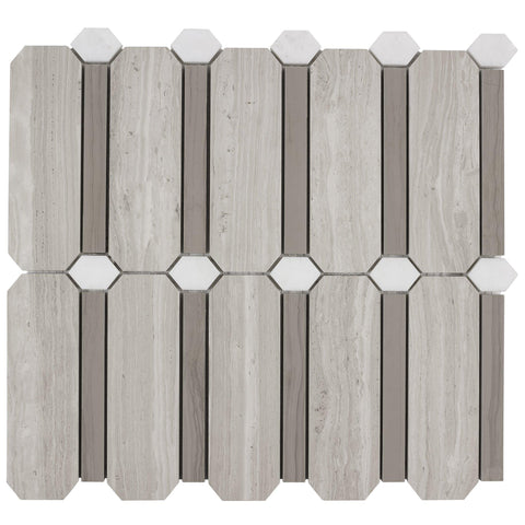 MTO0306 Modern Designer Gray White Wooden Athens Gray Natural Stone Mosaic Tile - Mosaic Tile Outlet