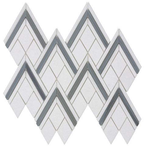 MTO0307 Modern Chevron Gray White Blue Natural Thassos Marble Mosaic Tile - Mosaic Tile Outlet