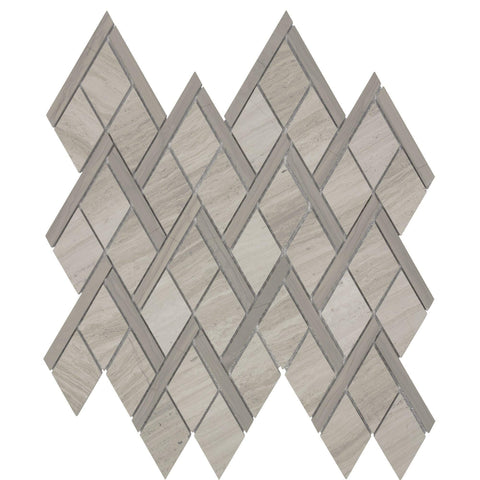 Front Modern Diamond Grey Stone Mosaic Tile