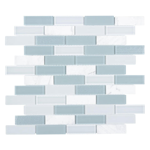 Front Angle MTO0309 Modern Linear Blue White Glossy Glass Stone Mosaic Tile
