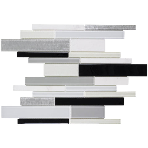 MTO0311 Modern Linear Black White Glossy Glass Stone Mosaic Tile - Mosaic Tile Outlet